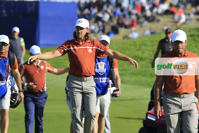 Tommy Fleetwood (Team Europe) walks onto the 9th green during Saturday's Foursomes Matches at the 2018 Ryder Cup 2018, Le Golf National, Ile-de-France, France. 29/09/2018.<br /> Picture Eoin Clarke / Golffile.ie<br /> <br /> All photo usage must carry mandatory copyright credit (© Golffile | Eoin Clarke)
