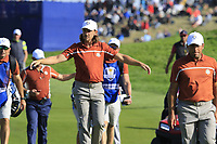 Tommy Fleetwood (Team Europe) walks onto the 9th green during Saturday's Foursomes Matches at the 2018 Ryder Cup 2018, Le Golf National, Ile-de-France, France. 29/09/2018.<br /> Picture Eoin Clarke / Golffile.ie<br /> <br /> All photo usage must carry mandatory copyright credit (&copy; Golffile | Eoin Clarke)