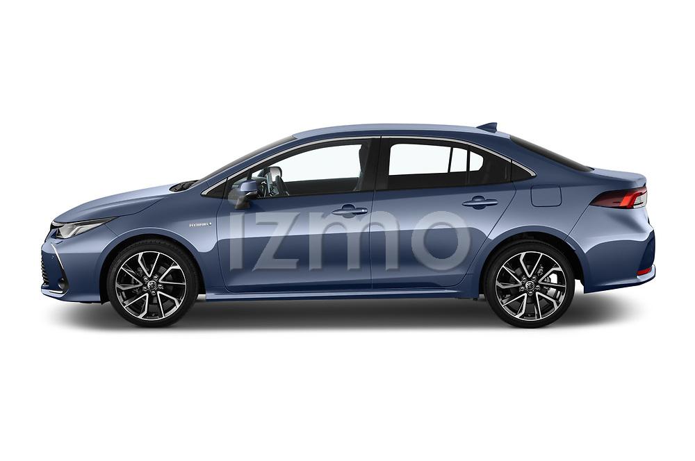 Car driver side profile view of a 2019 Toyota Corolla  Premium 4 Door Sedan