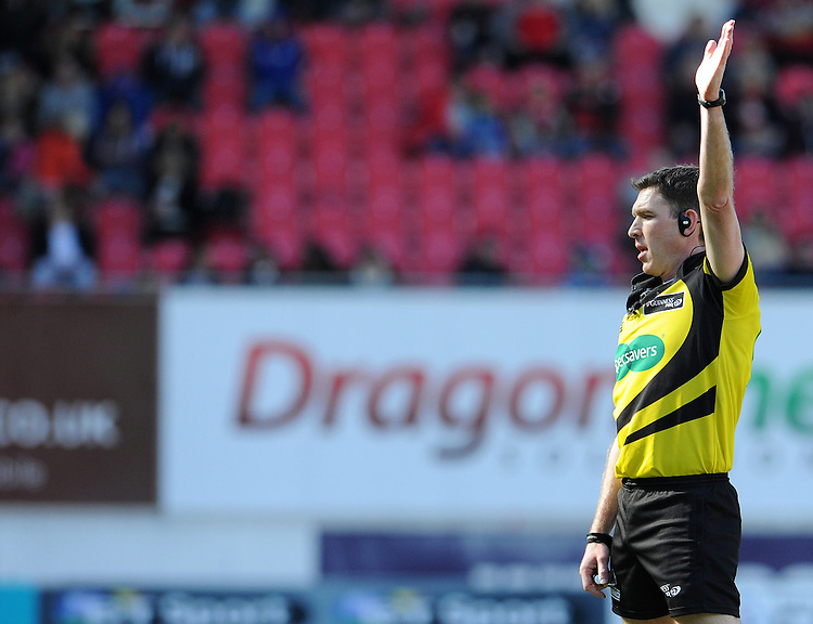 Referee George Clancy during todays match<br /> <br /> Photographer Ian Cook/CameraSport<br /> <br /> Rugby Union - Guinness PRO12 Round 20 - Scarlets v Glasgow Warriors - Saturday 16th April 2016 - Parc y Scarlets - Llanelli <br /> <br /> &copy; CameraSport - 43 Linden Ave. Countesthorpe. Leicester. England. LE8 5PG - Tel: +44 (0) 116 277 4147 - admin@camerasport.com - www.camerasport.com