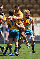 David Feao leaps onto tryscorer Kenneth Robertson after the final whistle during the International rugby match between New Zealand Secondary Schools and Suncorp Australia Secondary Schools at Yarrows Stadium, New Plymouth, New Zealand on Friday, 10 October 2008. Photo: Dave Lintott / lintottphoto.co.nz