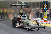 May 10, 2013; Commerce, GA, USA: NHRA top fuel dragster driver Terry McMillen during qualifying for the Southern Nationals at Atlanta Dragway. Mandatory Credit: Mark J. Rebilas-