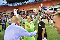 Houston, TX - Sunday Oct. 09, 2016: Sabrina D'Angelo, Paul Riley during the National Women's Soccer League (NWSL) Championship match between the Washington Spirit and the Western New York Flash at BBVA Compass Stadium. The Western New York Flash win 3-2 on penalty kicks after playing to a 2-2 tie.