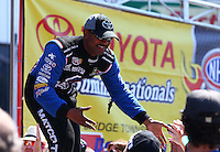 Jun. 2, 2013; Englishtown, NJ, USA: NHRA top fuel dragster driver Antron Brown during the Summer Nationals at Raceway Park. Mandatory Credit: Mark J. Rebilas-