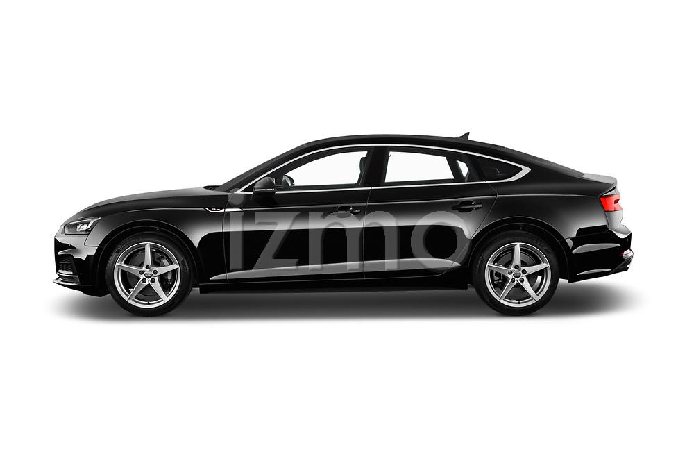 Car driver side profile view of a 2018 Audi A5 Sportback Premium Plus  5 Door Hatchback