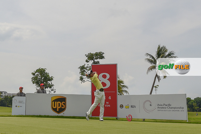 Takumi KANAYA (JPN) watches his tee shot on 8 during Rd 4 of the Asia-Pacific Amateur Championship, Sentosa Golf Club, Singapore. 10/7/2018.<br /> Picture: Golffile | Ken Murray<br /> <br /> <br /> All photo usage must carry mandatory copyright credit (© Golffile | Ken Murray)