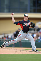 Atlanta Braves pitcher Gus Schlosser (73) during a spring training game against the Detroit Tigers on February 27, 2014 at Joker Marchant Stadium in Lakeland, Florida.  Detroit defeated Atlanta 5-2.  (Mike Janes/Four Seam Images)