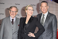 "director, Steven Spielberg, Meryl Streep and Tom Hanks<br /> arriving for the European premiere of ""The Post"" at the Odeon Leicester Square, London<br /> <br /> <br /> ©Ash Knotek  D3368  10/01/2018"