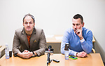 S&ouml;dert&auml;lje 2014-11-09 Fotboll Kval till Superettan Assyriska FF - &Ouml;rgryte IS :  <br /> Assyriskas tr&auml;nare Azrudin Valentic och &Ouml;rgrytes tr&auml;nare Marcus Lantz p&aring; presskonferensen efter matchen mellan Assyriska FF och &Ouml;rgryte IS <br /> (Foto: Kenta J&ouml;nsson) Nyckelord:  S&ouml;dert&auml;lje Fotbollsarena Kval Superettan Assyriska AFF &Ouml;rgryte &Ouml;IS portr&auml;tt portrait tr&auml;nare manager coach