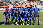 Palestinian players of Hilal al-Quds football club poses for a photo before their match with Shabab Khan Younis football club during the first leg football match of the Palestine Cup final at the Palestine Stadium in Gaza City on June 20, 2018. Photo by Mahmoud Ajour