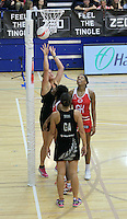 20.1.2014 New Zealand's Catherine Latu scores another goal during the netball test match in London, England. Mandatory Photo Credit (Pic: David Klein). ©Michael Bradley Photography.
