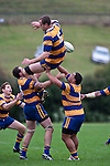 Rees Logan makes an ungainly  descent at lineout time. Counties Manukau Premier Club Rugby game between Pukekohe & Patumahoe played at Colin Lawrie Fields Pukekohe on Saturday May 8th 2010..Pukekohe won the game 31 -20 after trailling 10 - 20 at halftime.