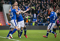 Oldham Athletic's Cameron Dummig celebrates scoring his side's first goal during the Sky Bet League 1 match between Oldham Athletic and Rochdale at Boundary Park, Oldham, England on 18 November 2017. Photo by Juel Miah/PRiME Media Images