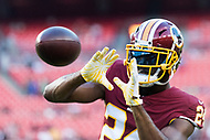 Landover, MD - August 16, 2018: Washington Redskins defensive back Josh Norman (24) catches a pass during warm up's before preseason game between the New York Jets and Washington Redskins at FedEx Field in Landover, MD. (Photo by Phillip Peters/Media Images International)