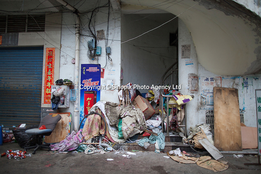 Urban decay near the Yue Yuen Industrial Holdings Limited factory in Dongguan, Guangdong Province, China, 03 March 2015.