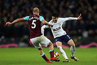 Son Heung-Min of Tottenham and Pablo Zabaleta of West Ham United during Tottenham Hotspur vs West Ham United, Premier League Football at Wembley Stadium on 4th January 2018