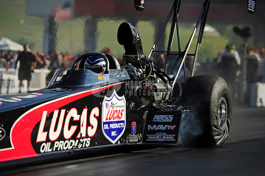 Jun. 15, 2012; Bristol, TN, USA: NHRA top fuel dragster driver Bruce Litton during qualifying for the Thunder Valley Nationals at Bristol Dragway. Mandatory Credit: Mark J. Rebilas-