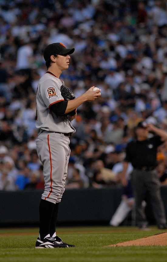 20 May 2008: Giants starting pitcher Tim Lincecum during a regular season game between the San Francisco Giants and the Colorado Rockies at Coors Field in Denver, Colorado. The Giants beat the Rockies 6-5. *****For editorial use only*****