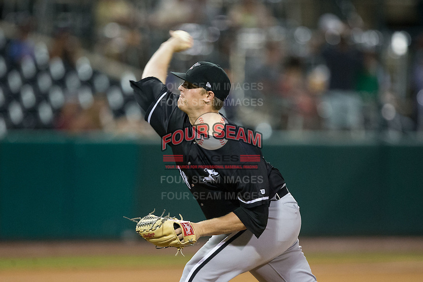 Kannapolis Intimidators starting pitcher Brannon Easterling (38) delivers a pitch to the plate against the Greensboro Grasshoppers at NewBridge Bank Park on July 7, 2016 in Greensboro, North Carolina.  The Dash defeated the Pelicans 13-9.  (Brian Westerholt/Four Seam Images)