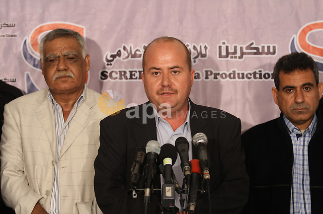 Member of the Political Bureau of the Democratic Front for the Liberation of Palestine (DFLP), Nasser Saleh speaks during a news conference in Gaza City, on Oct. 15, 2014. Photo by Mohammed Asad