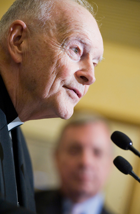 UNITED STATES - JULY 12:  Cardinal Theodore McCarrick, Archbishop Emeritus of Washington D.C., speaks at a news conference to announce the DREAM Act Sabbath, along with Senate Majority Whip Richard Durbin, D-Ill.  Religious leaders promised three days in September called the DREAM Act Sabbath, will be devoted to talking about the legislation that would allow children of illegal immigrants to stay in the country as long as they complete a college degree or two years of military service. (Photo By Tom Williams/Roll Call)