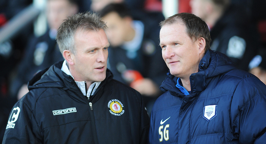 Crewe Alexandra manager Steve Davis (left) &amp; Preston North End manager Simon Grayson before kick-off<br /> <br /> Photographer Kevin Barnes/CameraSport<br /> <br /> Football - The Football League Sky Bet League One - Crewe Alexandra v Preston North End - Sunday 28th December 2014 - Alexandra Stadium - Crewe<br /> <br /> &copy; CameraSport - 43 Linden Ave. Countesthorpe. Leicester. England. LE8 5PG - Tel: +44 (0) 116 277 4147 - admin@camerasport.com - www.camerasport.com