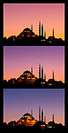 Suleymaniye Sundown Triptych 04 - Suleymaniye Mosque and Rustem Pasa Mosque at sundown, from Eminonu, Istanbul, Turkey. A combination of three shots, each taken five minutes apart at sundown.