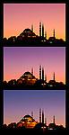 Suleymaniye Sundown Triptych 04 - Suleymaniye Mosque and Rustem Pasa Mosque at sundown, from Eminonu, Istanbul, Turkey. A combination of three shots, each taken five minutes apart at sundown.