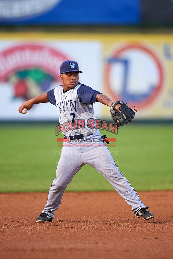 Brooklyn Cyclones third baseman Branden Kaupe (7) throws to first during a game against the Tri-City ValleyCats on September 1, 2015 at Joseph L. Bruno Stadium in Troy, New York.  Tri-City defeated Brooklyn 5-4.  (Mike Janes/Four Seam Images)