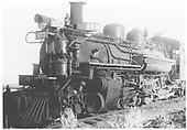 3/4 left side view of K-28 #475 (supposed to be at water tank in Tres Piedras).<br /> D&amp;RGW  Tres Piedras, NM  Taken by Hawley, - 8/1934