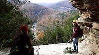 NWA Democrat-Gazette/FLIP PUTTHOFF <br /> Thao Nguyen (right) and Karen Mowry take in views of the Buffalo National River Nov. 18 2016 from the Goat Trail. The six-mile round-trip hike offers scenic views of the river valley where the trail threads it way along Big Bluff high above the Buffalo.