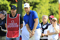 Lucas Bjerregaard (DEN) on the 16th green during Sunday's Final Round 4 of the 2018 Omega European Masters, held at the Golf Club Crans-Sur-Sierre, Crans Montana, Switzerland. 9th September 2018.<br /> Picture: Eoin Clarke | Golffile<br /> <br /> <br /> All photos usage must carry mandatory copyright credit (&copy; Golffile | Eoin Clarke)
