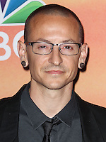 LOS ANGELES, CA, USA - MAY 01: Chester Bennington, Linkin Park in the press room at the iHeartRadio Music Awards 2014 held at The Shrine Auditorium on May 1, 2014 in Los Angeles, California, United States. (Photo by Celebrity Monitor)