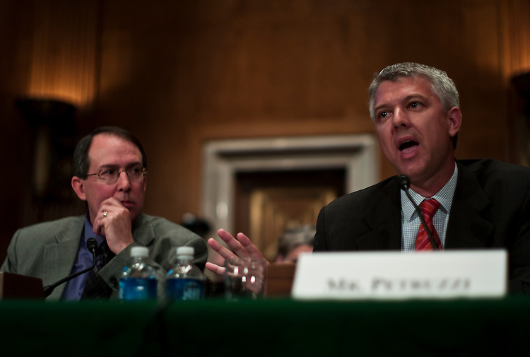 "WASHINGTON, DC - April 13: Timothy Mitchell, superintendent of schools for the  Chamberlain School District 7-1, in Chamberlain, S.D.; and Marco Petruzzi, CEO of Green Dot Public Schools in Los Angeles, Calif.; testify during the Senate Health, Education, Labor and Pensions hearing on the reauthorization of ""No Child Left Behind."" (Photo by Scott J. Ferrell/Congressional Quarterly)"
