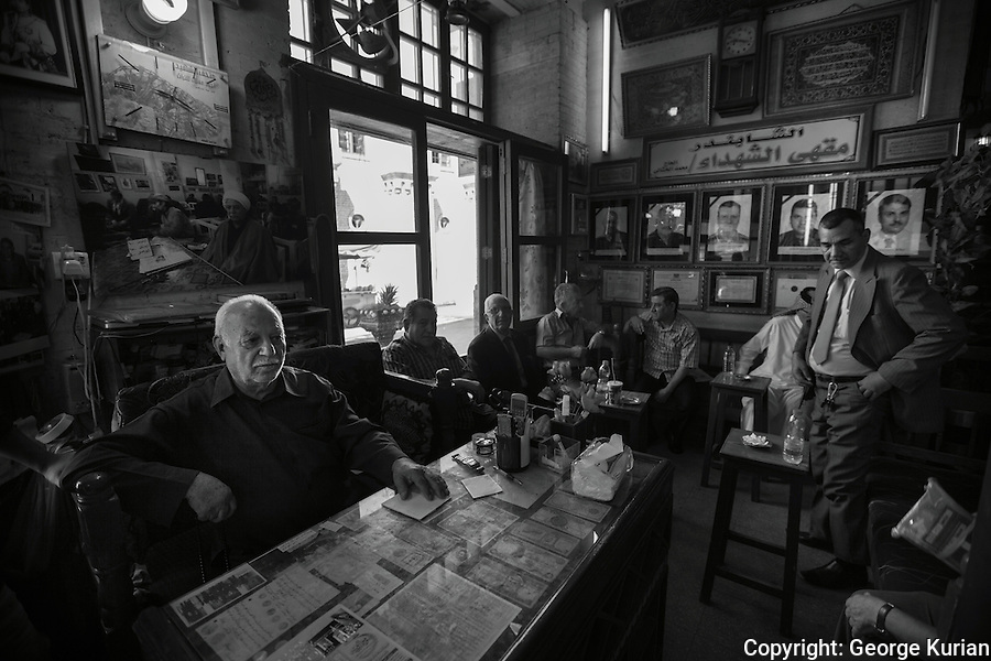 Al Shabandar Cafe in Al Mutanabbi Street, Baghdad. The cafe was opened in 1917 and was the regular haunt for Baghdad's intellectuals, artists, writers and composers.