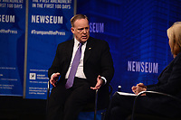 "Washington, DC - April 12, 2017: Sean Spicer, White House Press Secretary for President Trump, participates in ""The President and The Press: The First Amendment in 100 Days"" forum at the Newseum in the District of Columbia April 12, 2017. Spicer's discussion was moderated by MSNBC anchor Greta Van Susteren. (Photo by Don Baxter/Media Images International)"