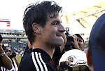 14 November 2004: DC United captain Ryan Nelsen cradles the Alan I. Rothenberg Trophy after the game. DC United defeated the Kansas City Wizards 3-2 to win MLS Cup 2004, Major League Soccer's championship game at the Home Depot Center in Carson, CA..