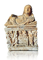 Etruscan Hellenistic style cinerary, funreary, urn ,  National Archaeological Museum Florence, Italy , white background
