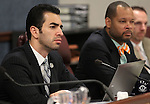 Nevada Senate Democrats, from left, Ruben Kihuen, Aaron Ford and Justin Jones work in committee at the Legislative Building in Carson City, Nev., on Friday, April 5, 2013..Photo by Cathleen Allison