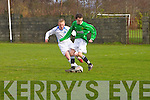 Kerry - Paddy Collins and  Dublin - Craig Hanlon at the Kerry against DDSL in the Youths Cup at Mounthawk park on Sunday