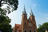 Facade of Notre-Dame de Saigon cathedral, Ho Chi Minh, Vietnam