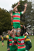 Michael McKeg goes high at a early lineout. Counties Manukau Premier Club rugby game between Pukekohe and Waiuku, played at Colin Lawrie Fields, Pukekohe on Saturday April 14th, 2018. Pukekohe won the game 35 - 19 after leading 9 - 7 at halftime.<br /> Pukekohe Mitre 10 Mega -Joshua Baverstock, Sione Fifita 3 tries, Cody White 3 conversions, Cody White 3 penalties.<br /> Waiuku Brian James Contracting - Lemeki Tulele, Nathan Millar, Tevta Halafihi tries,  Christian Walker 2 conversions.<br /> Photo by Richard Spranger