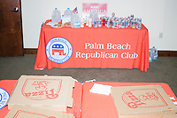 Pizza and sodas stand on tables during a gathering for volunteers at the Palm Beach Republican Club and West Palm Beach Victory Headquarters office in West Palm Beach, Florida. The office serves as a place for volunteers to gather and organize for various Republican campaigns, including Donald Trump's general election campaign.