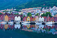 Bergen waterfront; Bergen, Norway. Coastal city established 1070    UNESCO World Heritage Site
