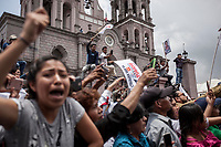 June 6, 2018: Supporters of Andres Manuel Lopez Obrador, an opposition candidate of MORENA party running for presidency (not-pictured), attend his campaign rally at at streets of Teziutlan municipality during his campaign rally in Mexico City. National elections will be hold on July 1.