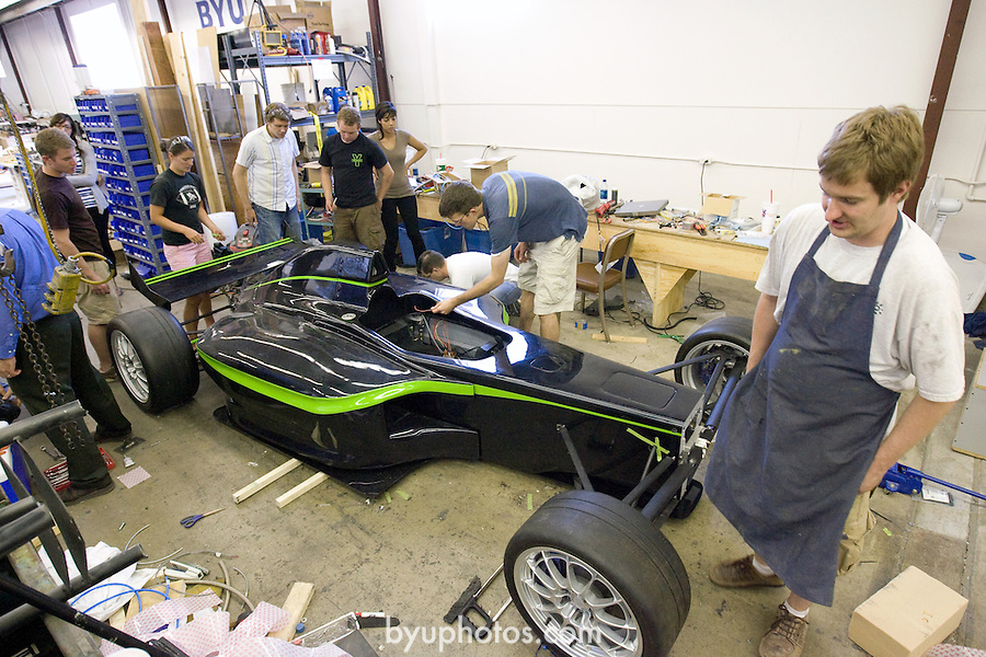 0807-19 203.CR2..0807-19 PACE International Car Assembly..BYU Mechanical Engineering Students work on assembling the PACE car...July 22, 2008..Photo by Jaren Wilkey/BYU..© BYU PHOTO 2008.All Rights Reserved.photo@byu.edu  (801)422-7322