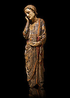 St John the Evangelist Gothic sculpture from a Calvery scene. Polychrome wood carving with remains of varnished metal plate. National Museum of Catalan Art, Barcelona, Spain, inv no: 004390-CJT.