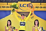 Race leader Chris Froome (GBR) Team Sky retains the Yellow Jersey at the end of Stage 15 of the 104th edition of the Tour de France 2017, running 189.5km from Laissac-Severac l'Eglise to Le Puy-en-Velay, France. 16th July 2017.<br /> Picture: ASO/Pauline Ballet | Cyclefile<br /> <br /> <br /> All photos usage must carry mandatory copyright credit (&copy; Cyclefile | ASO/Pauline Ballet)