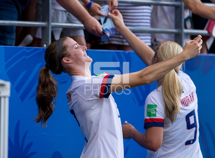 REIMS,  - JUNE 24: Tierna Davidson #12 takes a selfie during a game between NT v Spain and  at Stade Auguste Delaune on June 24, 2019 in Reims, France.