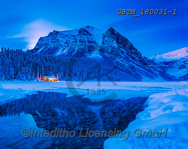 Tom Mackie, CHRISTMAS LANDSCAPES, WEIHNACHTEN WINTERLANDSCHAFTEN, NAVIDAD PAISAJES DE INVIERNO, photos,+Alberta, Banff National Park, Canada, Canadian, Canadian Rockies, Lake Louise, North America, Tom Mackie, USA, blue hour, cab+in, evening, horizontal, horizontals, lake, lakes, landscape, landscapes, mountain, mountains, national park, reflect, reflec+ting, reflection, reflections, rugged, season, snow, time of day, twilight, weather, winter, wintery,Alberta, Banff National+Park, Canada, Canadian, Canadian Rockies, Lake Louise, North America, Tom Mackie, USA, blue hour, cabin, evening, horizontal,+,GBTM180031-1,#xl#